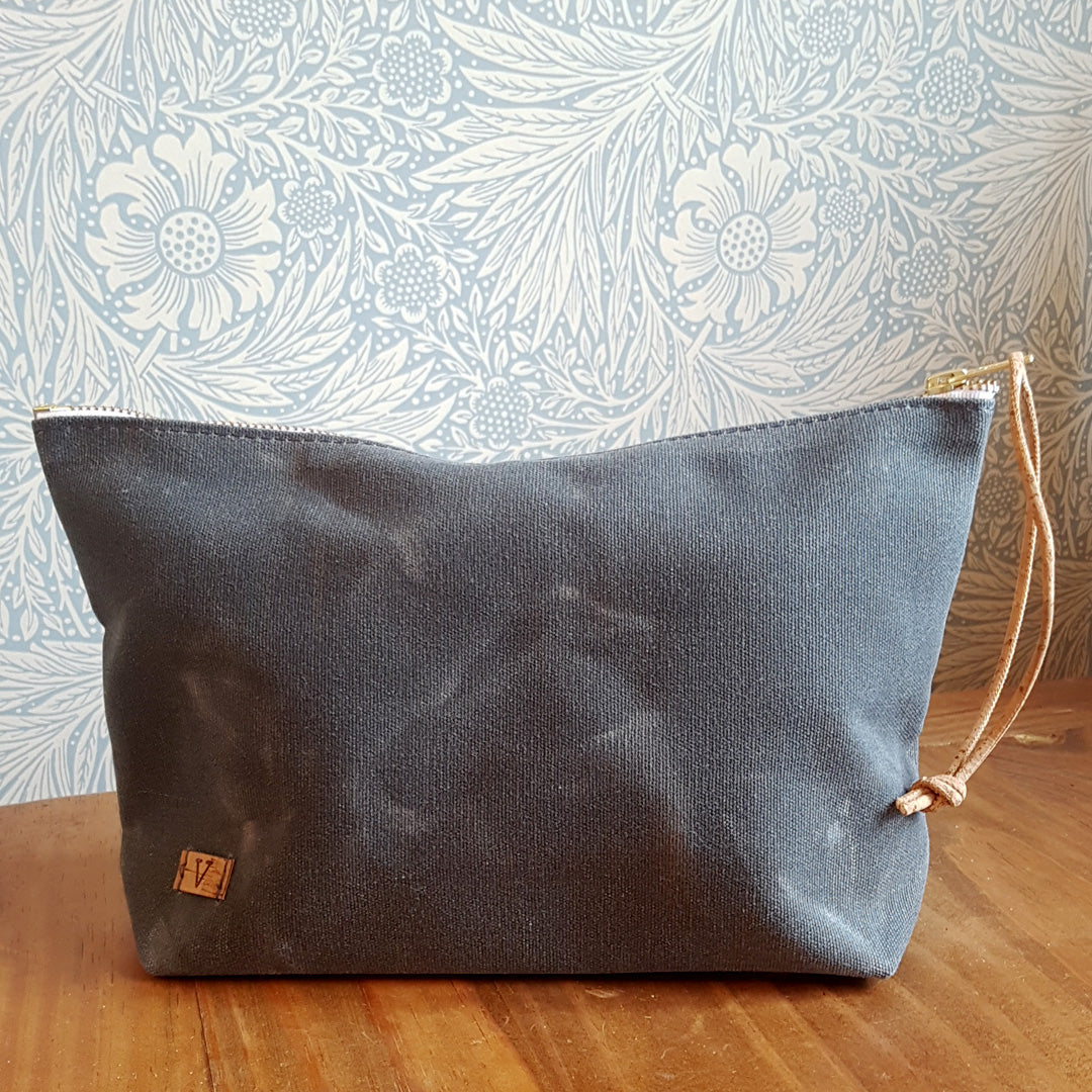 Charcoal Waxed Canvas Pouch with Cork Strap