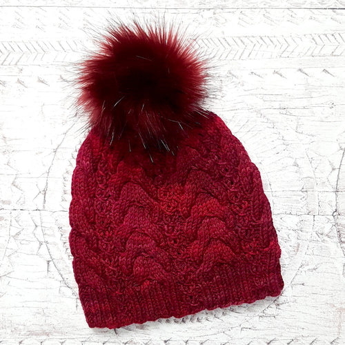 Handmade Cable Knit Hat - Ruby Tiger (In Stock, Ready to Ship)