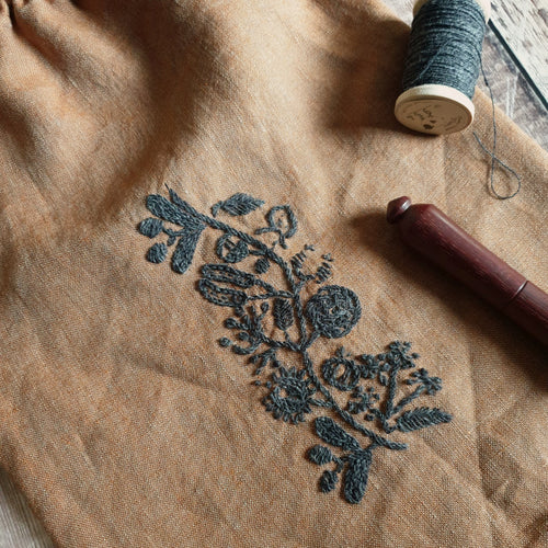 Hand Embroidered Linen Drawstring Bag - Seeds (In Stock, Ready to Ship)