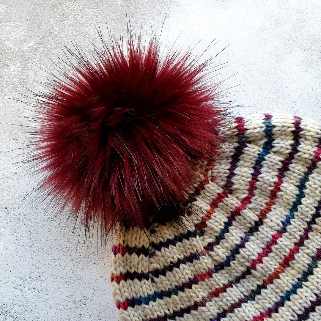 Faux Fur Pom Pom - Cherry Cola