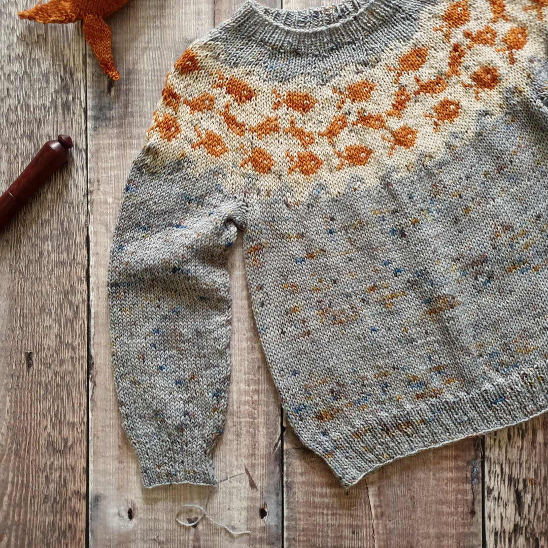 Swim Said the Mama Fishy Sweater Pattern - HFS Original - Downloadable PDF