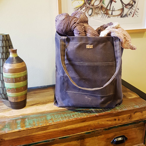Oak Brown Waxed Canvas Tote Project Bag