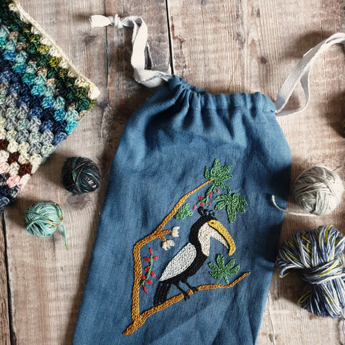 Hand Embroidered Linen Drawstring Bag - Toucan (In Stock, Ready to Ship)