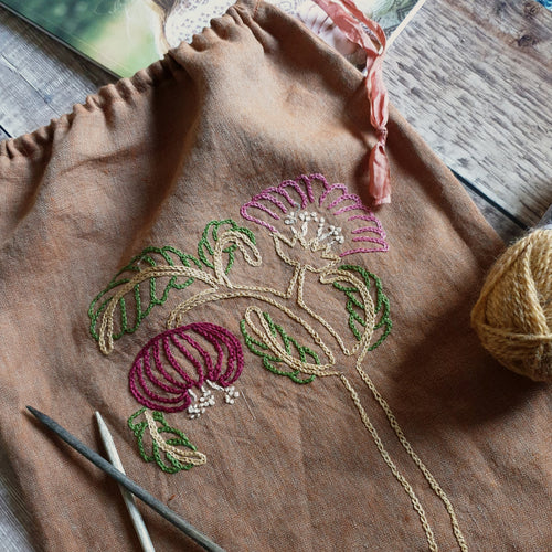 Hand Embroidered Linen Drawstring Bag - Rust Floral (In Stock, Ready to Ship)