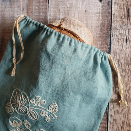Hand Embroidered Linen Drawstring Bag - White Floral (In Stock, Ready to Ship)