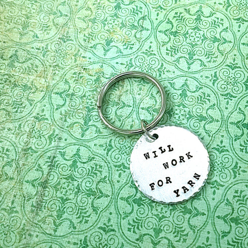 Will Work for Yarn Keychain