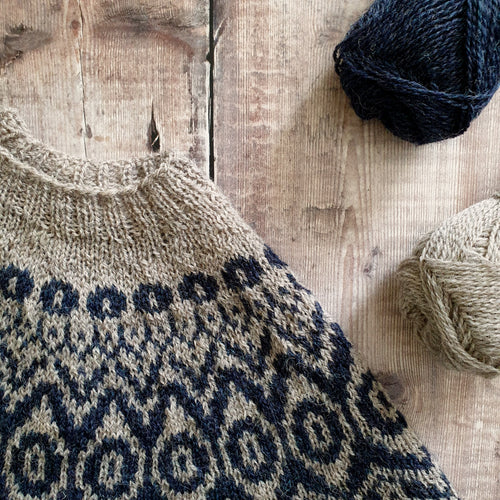 HFS Pattern + Yarn Kit - Blythe's Spirit Pip Colourwork Sweater - Yorkstone & Endeavour