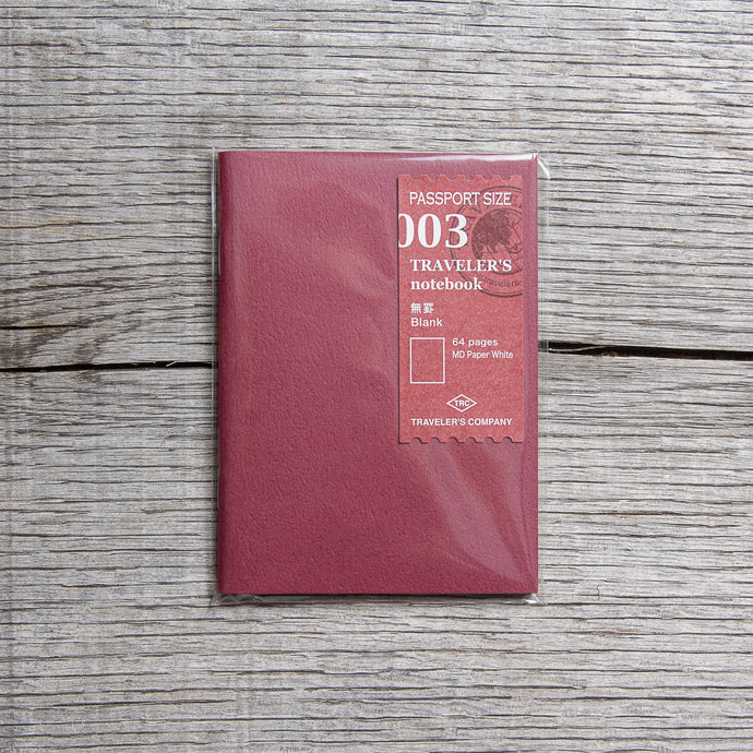 Traveler's Company #003 Passport Size Notebook Refill Plain Paper