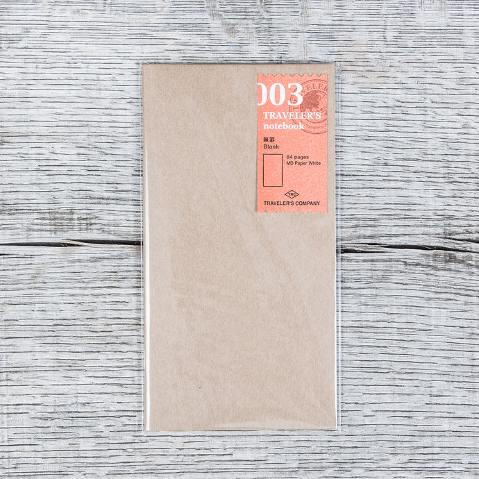 Traveler's Company #003 Regular Notebook Refill Plain Paper