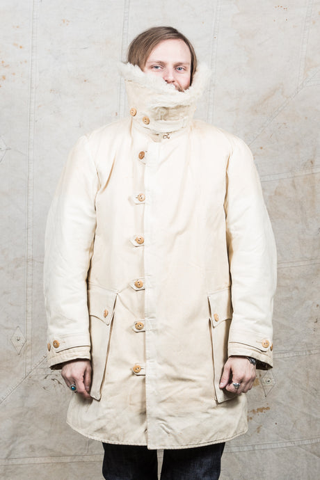 Vintage White Swedish Army Survival Coat