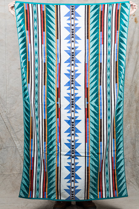 Pendleton Oversized Jacquard Beach Towel Turquoise Ridge