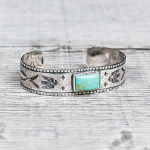 Larry Smith BR-0081 Square Turquoise Silver Bracelet