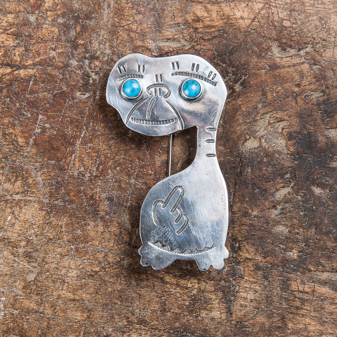 Munqa Newtive E. T. Silver & Turquoise Brooch