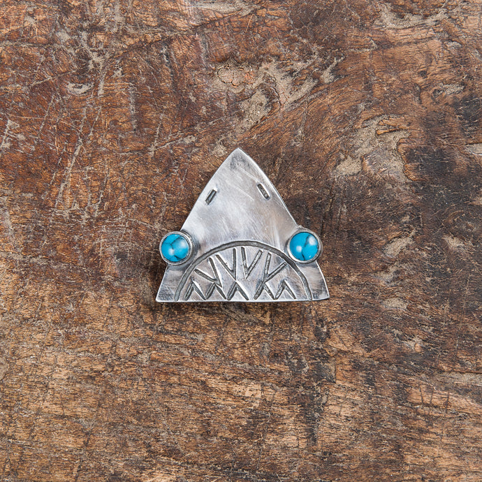 Munqa Newtive Jaws Silver & Turquoise Brooch