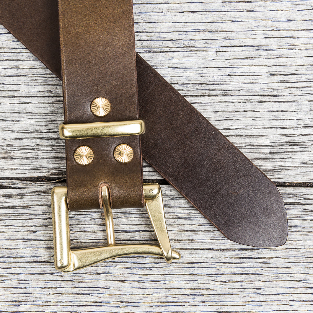 Lone Wolf Leathers Belt Horween Chromexcel Fireman's Brass Buckle