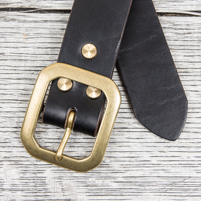 Lone Wolf Leathers Belt Horween Chromexcel Flat Octagon Brass Buckle