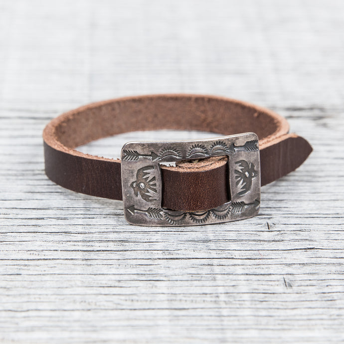 Tenable Crafts Silver & Leather Thunderbird Bracelet