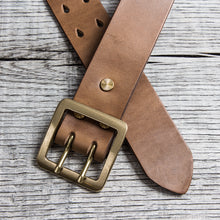 Lone Wolf Leathers Belt Horween Chromexcel Two Prongs Brass Buckle