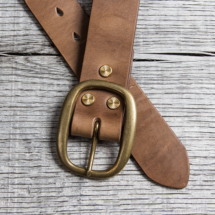 Lone Wolf Leathers Belt Horween Chromexcel Oval Brass Buckle