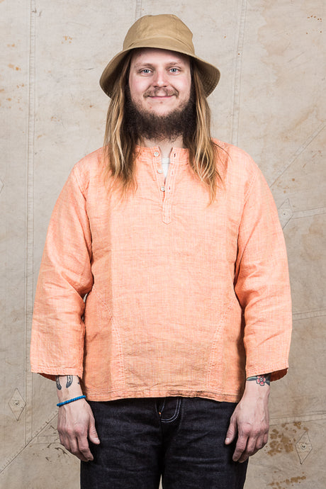 OrSlow Pullover Linen Shirt Orange