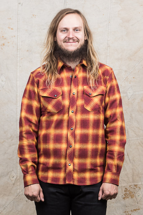 Indigofera Dawson Shirt Japanese Selvage Flannel Red/Rust/Beige/Yelolow