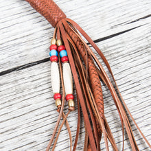 Lone Wolf Leathers Braided Wallet Leash Brass Fish Hook Saddle Tan