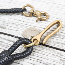 Lone Wolf Leathers Braided Wallet Leash Brass Fish Hook Black