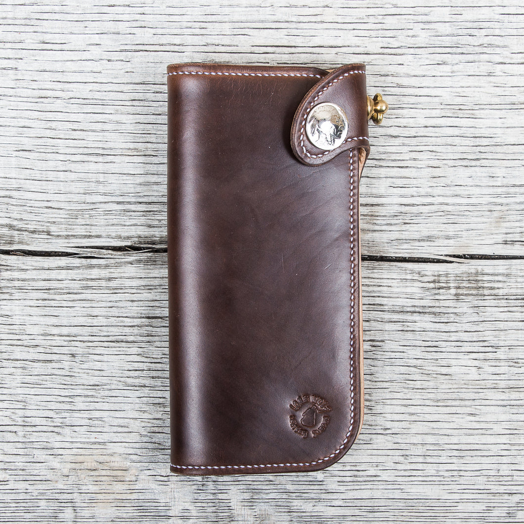Lone Wolf Leathers Handmade Tall Wallet Horween Chrome Excel Brown