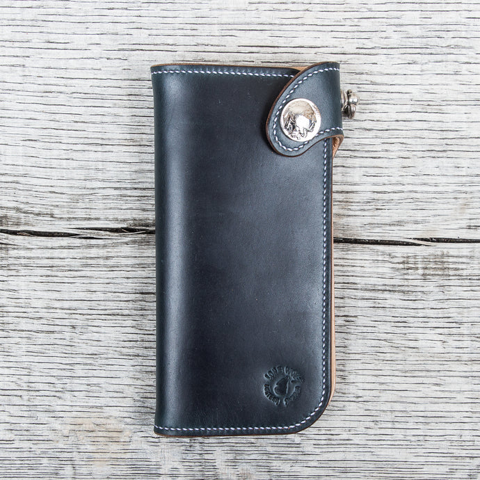 Lone Wolf Leathers Handmade Tall Wallet Horween Chromeexcel Navy Blue