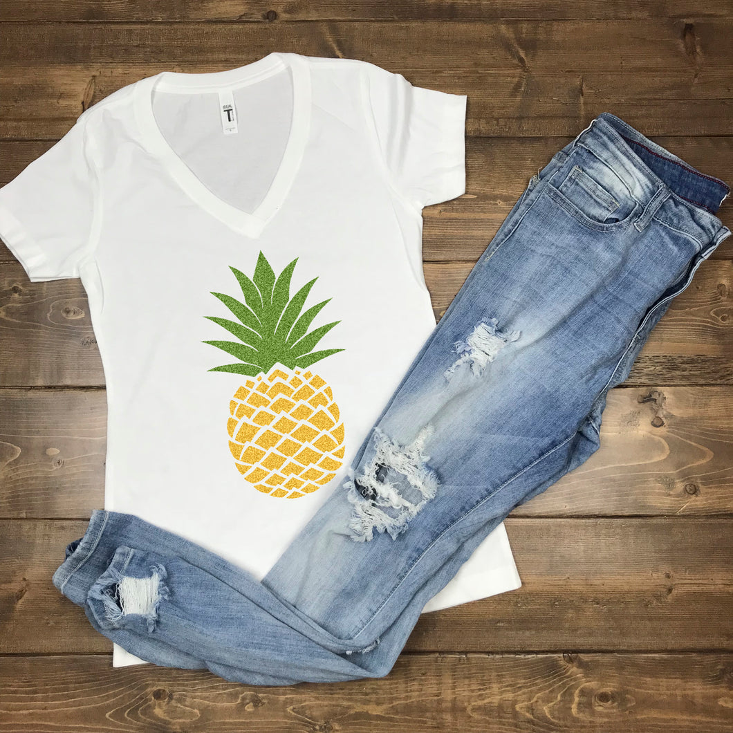 Pineapple Shirt, SUmmer, Glitter, Funny, Cruise