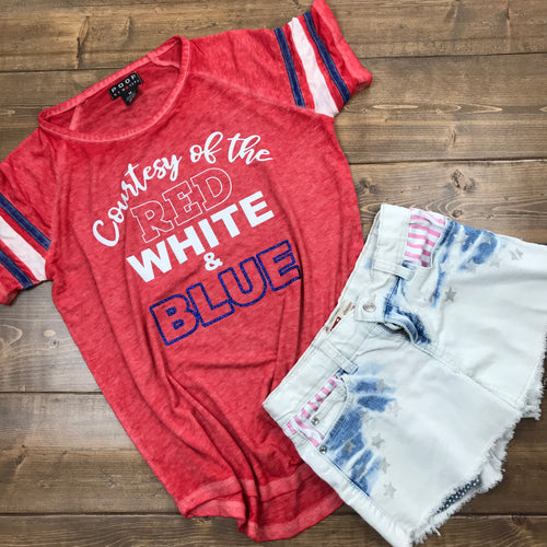 RED 4th of July Shirt Woman & Girls | Red Wine & Blue | Courtesy of the Red White Blue