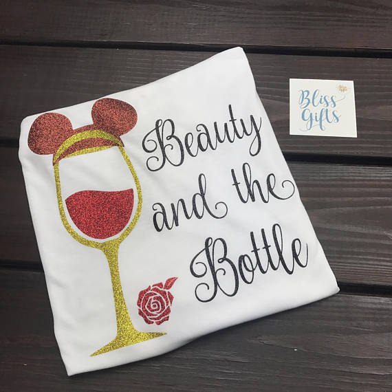 Beauty and the Bottle White, Food And Wine Shirt, Belle Drinking Shirt, Epcot Food and Wine