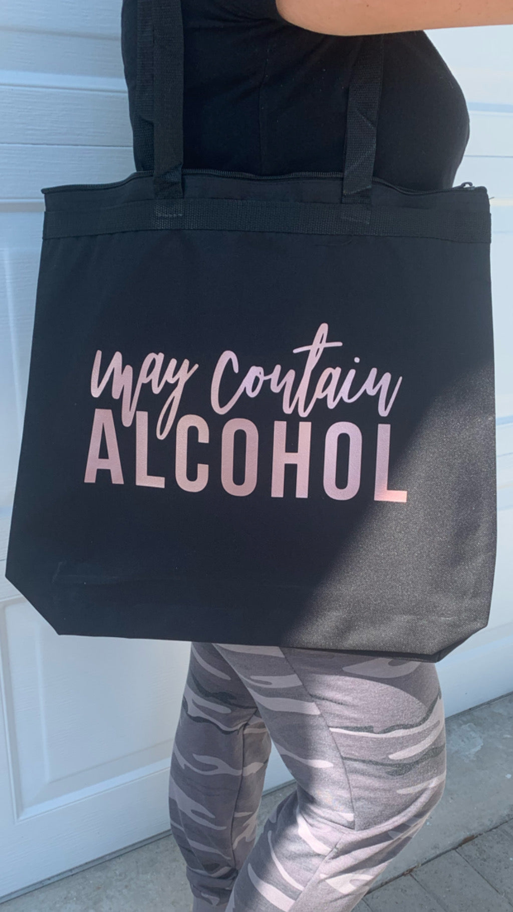 May Contain Alcohol Large Zippered Tote Bag