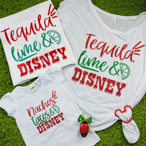 Tacos Tequila Lime Food and Wine Family Shirts