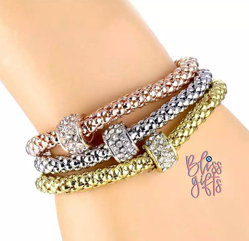 Tri- Colored Metallic Expandable Bracelets