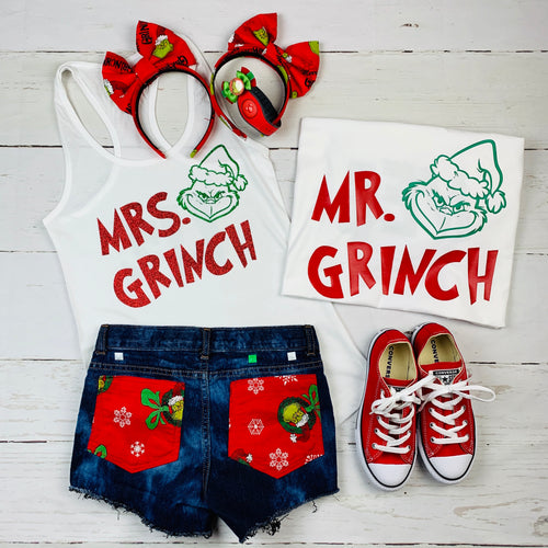 Mr. Grinch, Mrs. Grinch, Grinch Christmas Shirt, Grinch Shirt, Universal Studios Christmas Shirt, Dr. Suess