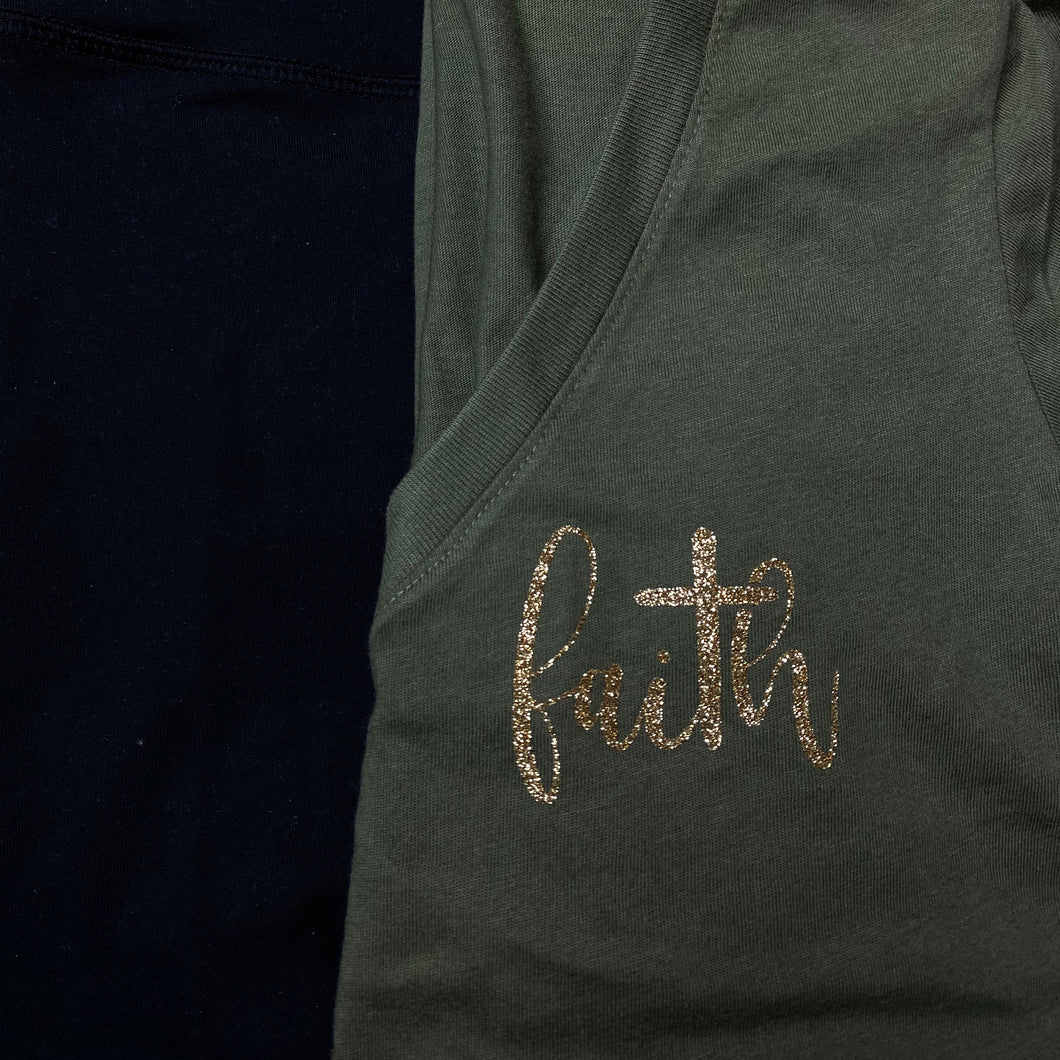 Faith Gold Glitter Cross Shirt in Olive Green