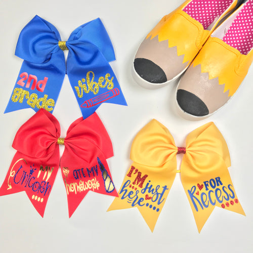 School Colors, Back To School Bows, Cheer Bow, Bows For School, Unicorn, Recess, Vibes