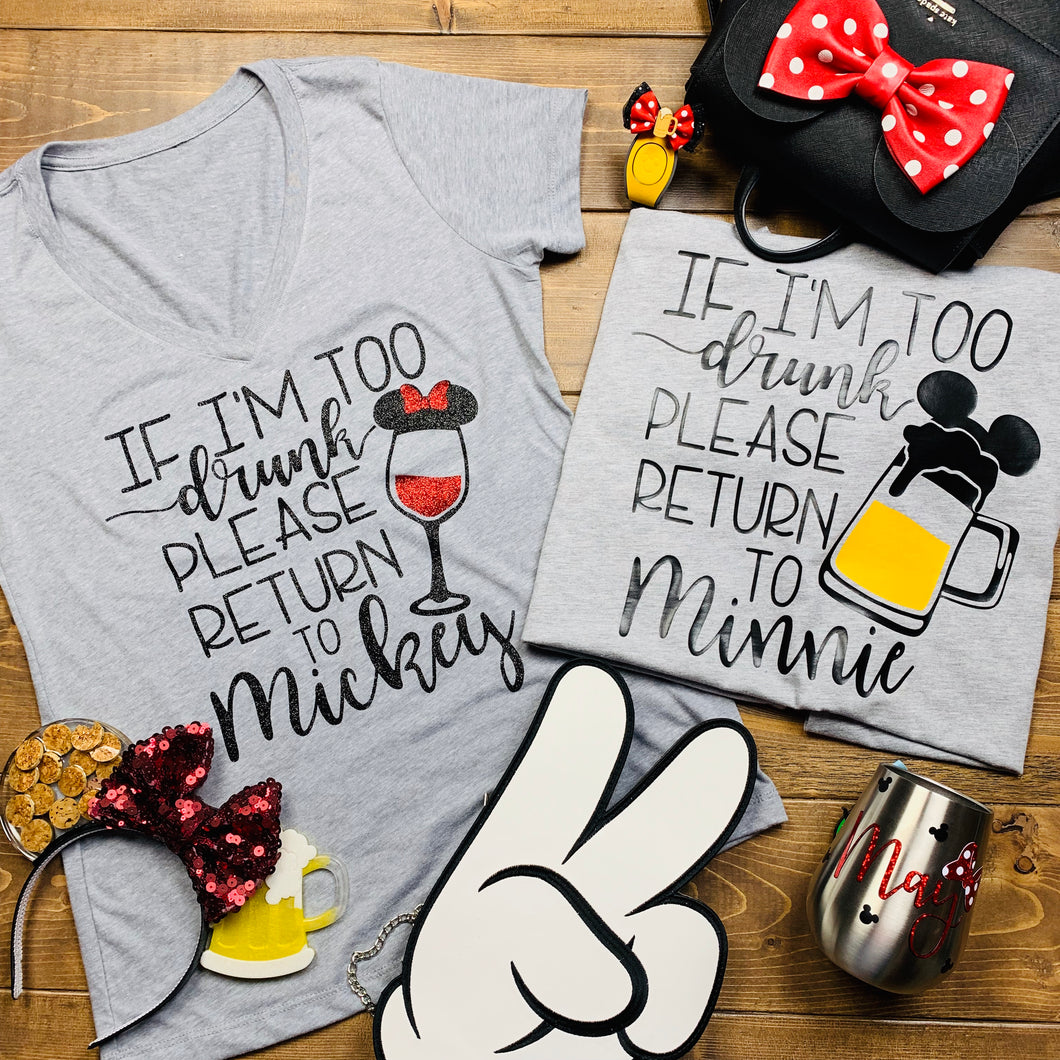 Please Return To Minnie Mickey and Minnie Drinking Food and Wine Shirts