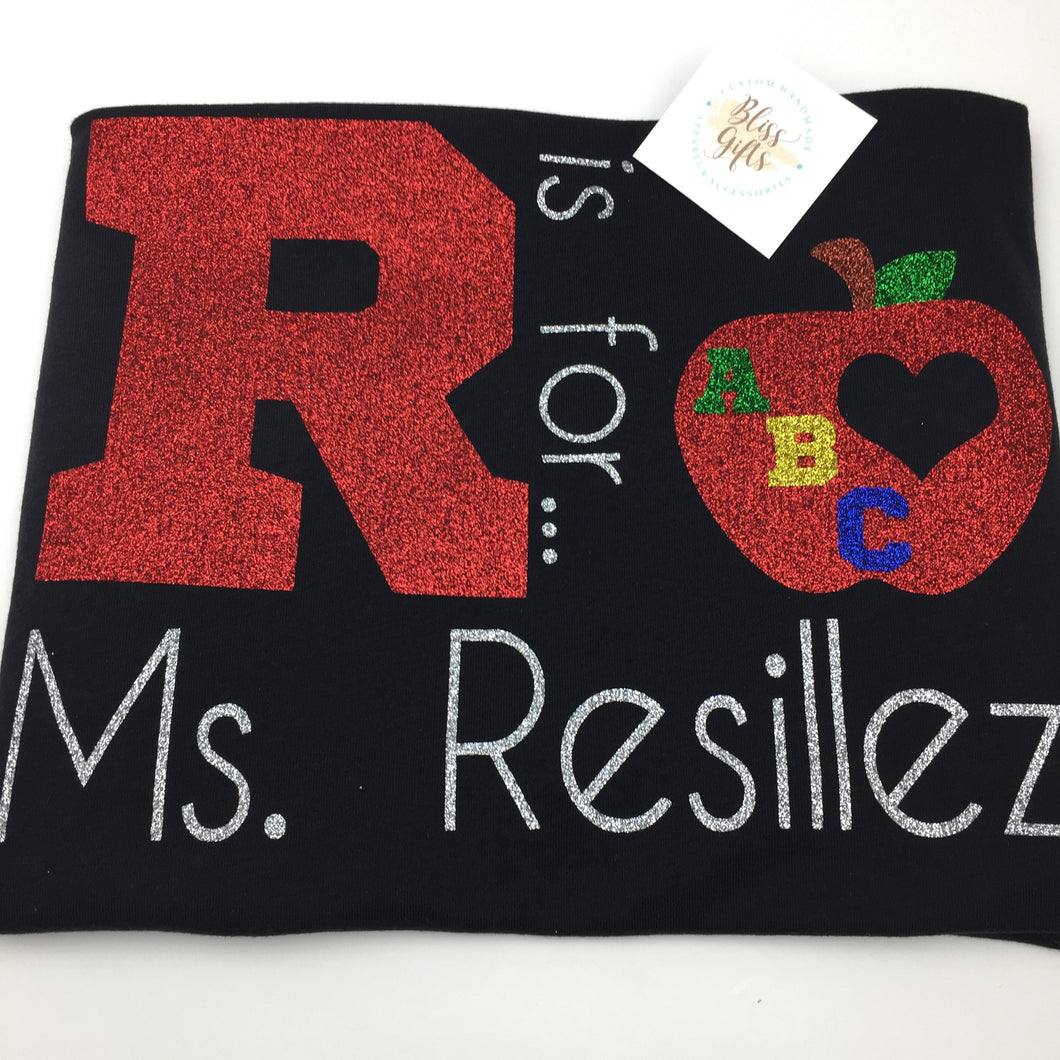 Teacher Personalized Shirt in Glitter