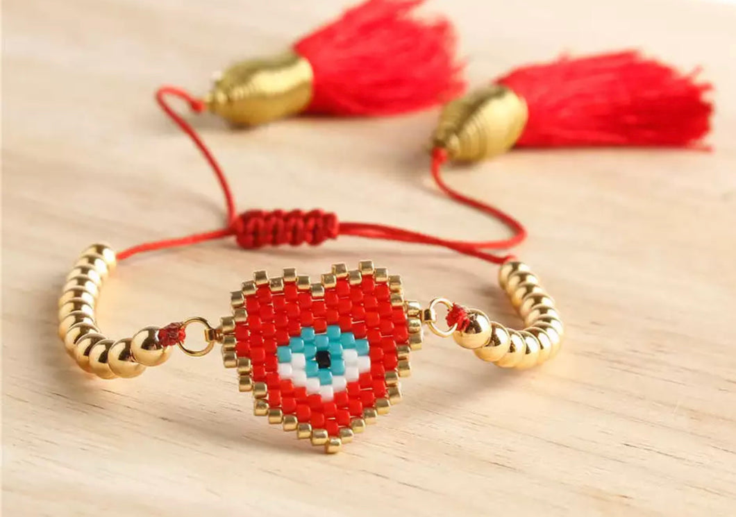 Red Adjustable Evil Eye Heart Bracelet