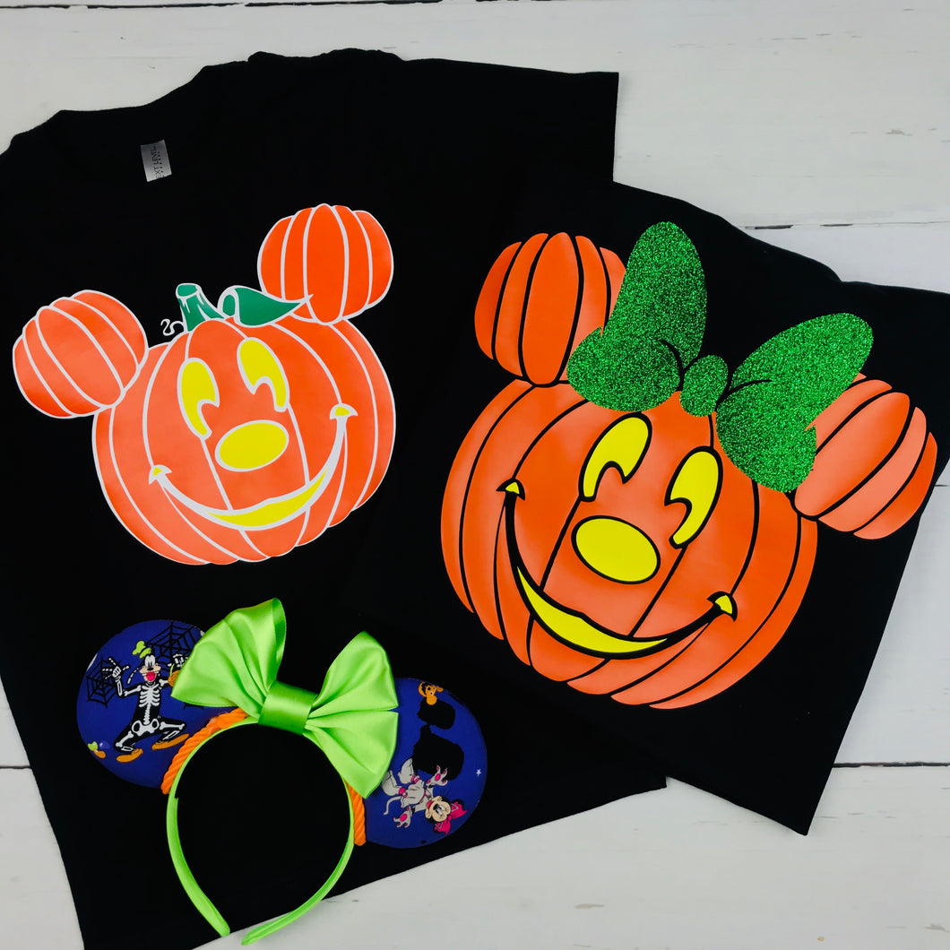 Mickey and Minnie Pumpkins, Personalized,   Mickey's Not So Scary Halloween Party Shirt