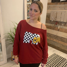 Checkered Retro Mom on Maroon Raw Edge Raglan