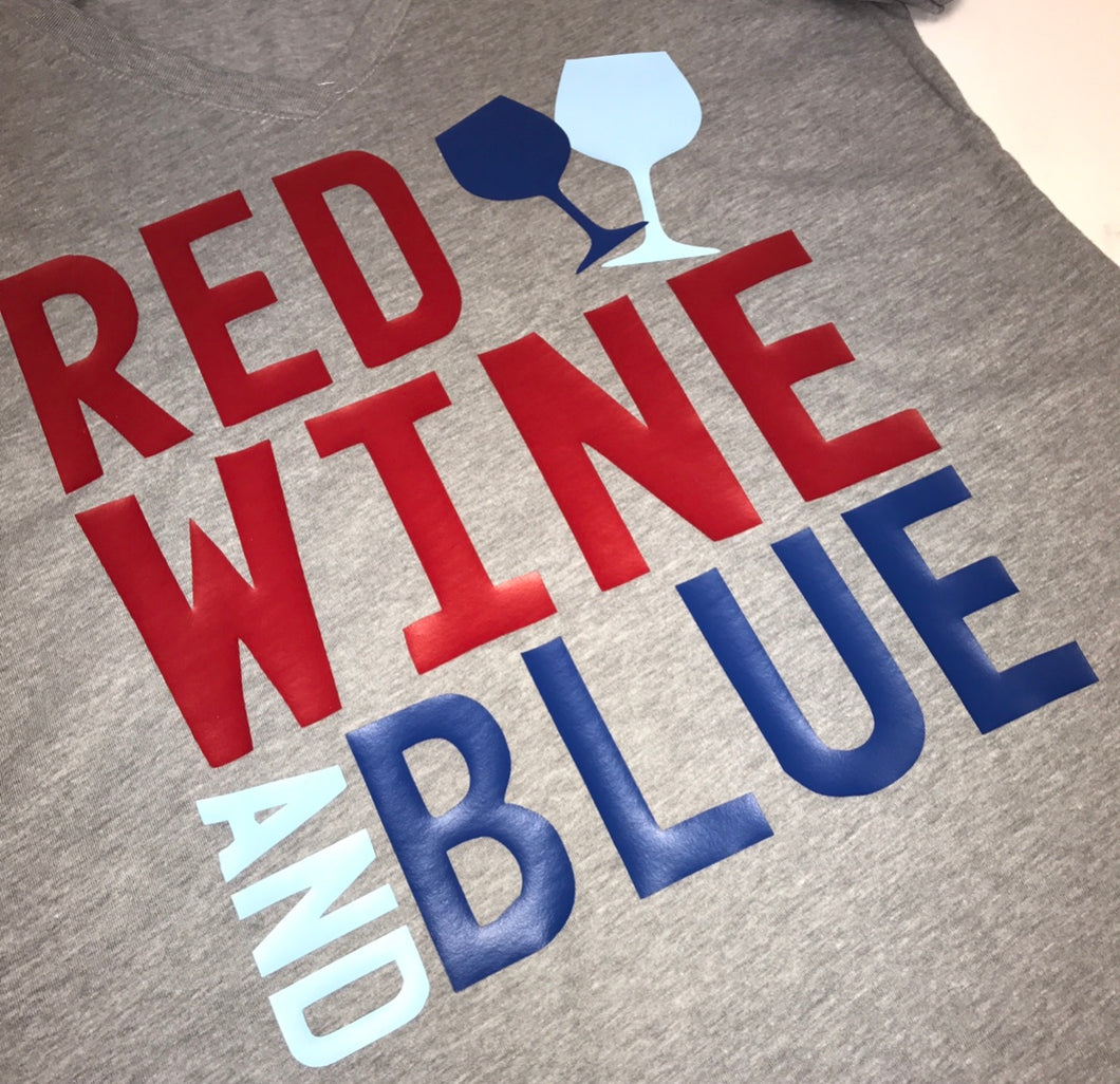 Gray 4th of July Shirt Woman | Red Wine & Blue | Because of the Brave