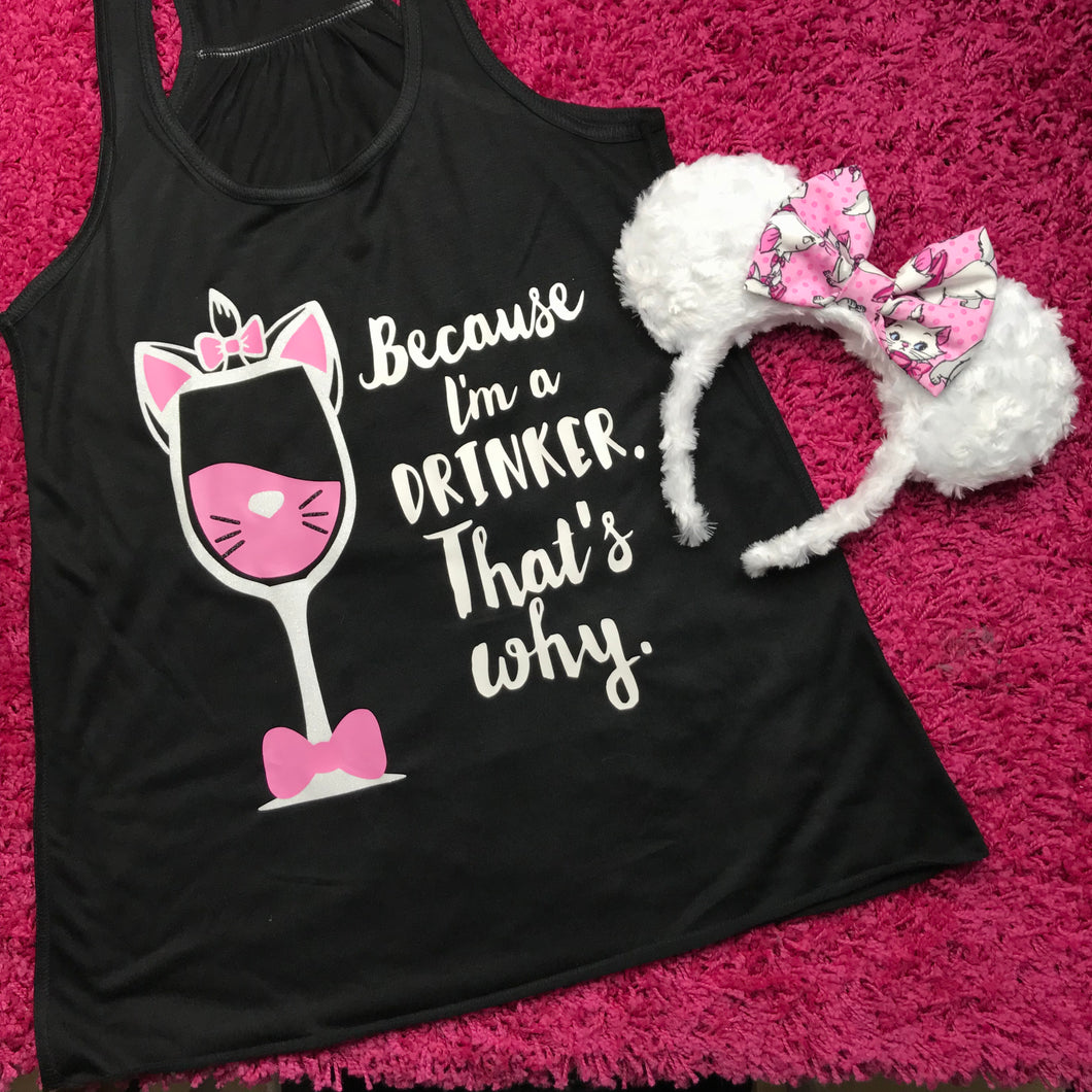 Marie the cat, aristocats, wine glass shirt, epcot food and wine, disney drinking, rose gold