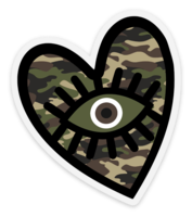 Camo Evil Eye Heart Sticker - Water Proof, Scratch Proof Premium Clear Sticker