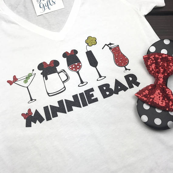 Minnie Bar Full Glitter, Epcot Food and Wine Shirts, Food and Wine Shirts, Drinking Shirts