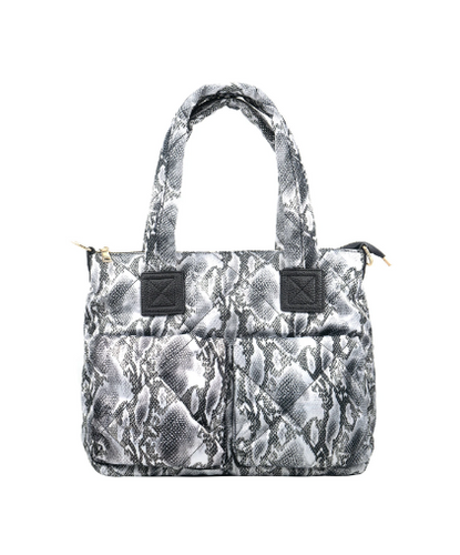 Two Pocket Quilted Nylon Bag - Snake Skin