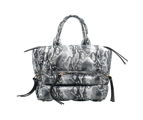 Quilted Nylon Bag - Snake Skin