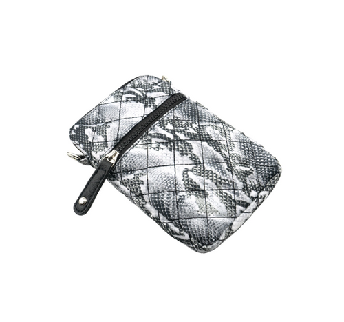Quilted Cross-body Bag - Snake Skin